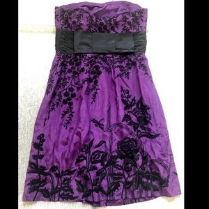 Tracy Reese purple silk black embroidered dress 12